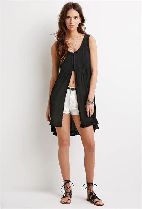 Front Slit Top by Lyst Forever 21 Gauze Slit Front Top In Black