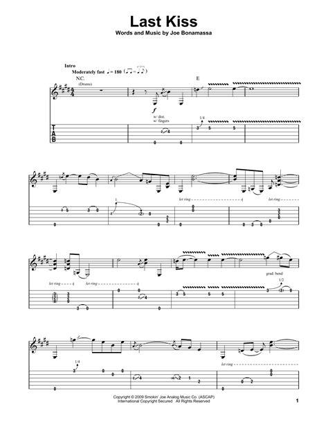 last kiss tutorial guitar last kiss by joe bonamassa guitar tab play along