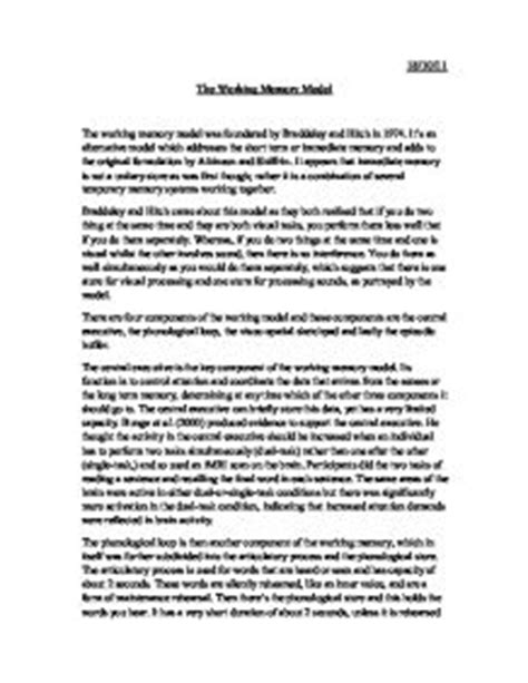 Psychology Essays On Memory by Essay On Memory