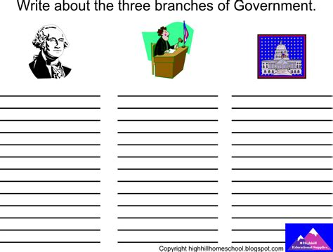 3 Branches Of Government Worksheet by Highhill Homeschool October 2012
