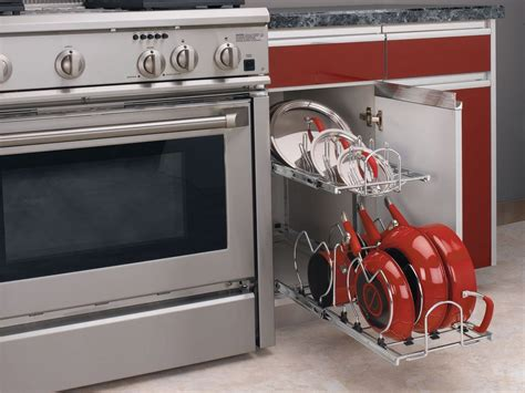 kitchen cabinets space savers rev a shelf 5cw2 1222 cr chrome 5cw2 series 12 quot two tier pull out cookware organizer