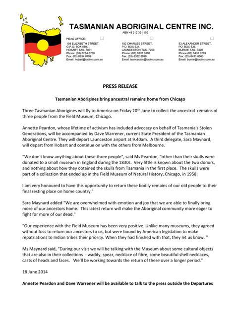 Press Release Letterhead Tasmanian Aboriginal Corporation Press Release Tasmanian Aborigines Bring Back Ancestral Remains