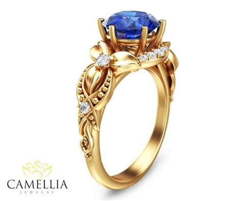 14k yellow gold blue sapphire engagement ring blue