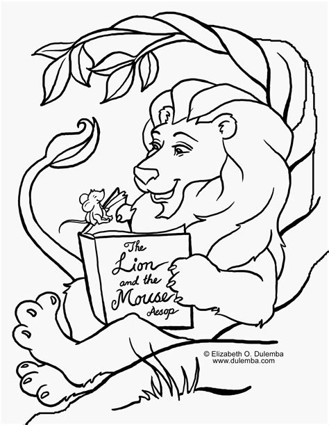 coloring pages the lion and the mouse free coloring pages of lion and the mouse story