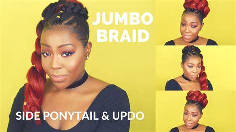 jumbo braid with bang jumbo braid side ponytail and updo youtube