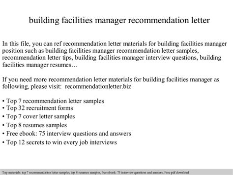 Endorsement Letter To Use Facilities Building Facilities Manager Recommendation Letter
