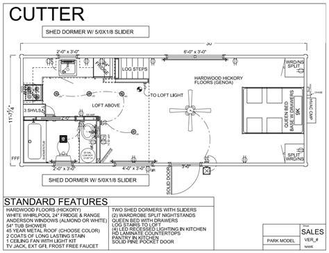 30 X 12 Cutter Park Model Log Cabin Mountain Park Cabin Floor Plans