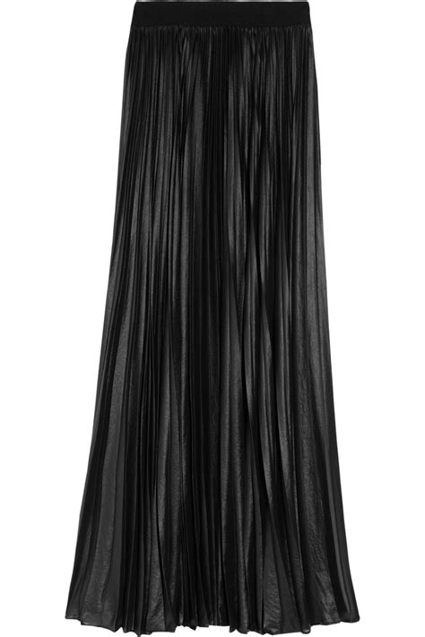 Pleated Chiffon Skirt lyst bcbgmaxazria pleated chiffon maxi skirt in black