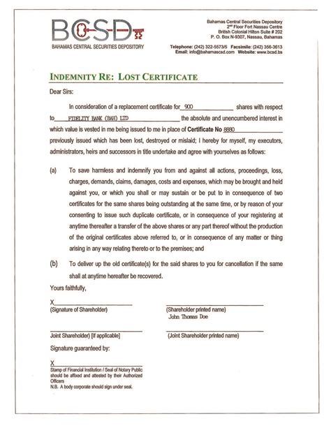 Missing Certificate Letter Indemnity Forms Bcsd