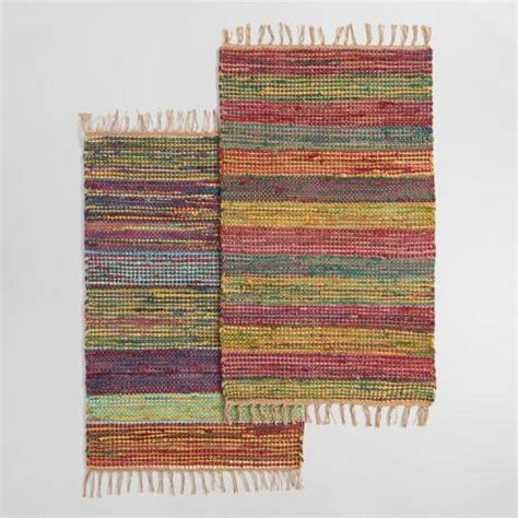 Woven Cotton Area Rugs 2 X3 Multicolor Stripe Woven Cotton Chindi Area Rug World Market