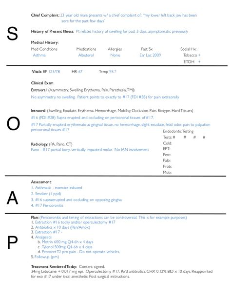 soap note template soap notes dentistry exle