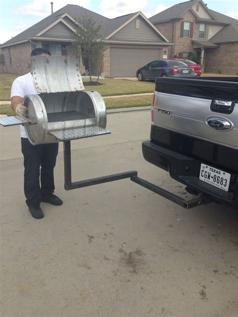 tailgating grill hitch mounted grill bbq pit from a keg with detachable hitch diy