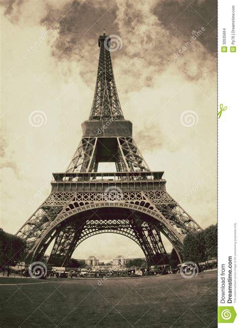 imagenes retro de la torre eiffel vintage view of the eiffel tower in paris france stock