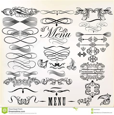 calligraphic design elements vector free collection of vector retro design calligraphic elements