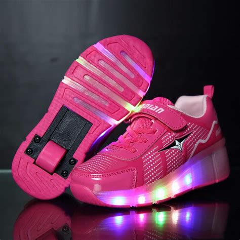 wheels light up shoes fashion children glowing sneakers roller skate shoes