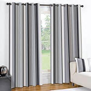 Grey Curtain Valance Striped Black Cream Grey Pair Lined Eyelet Ring Top