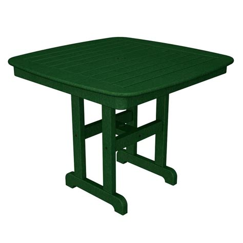 Polywood La Casa Cafe 48 In Green Round Patio Dining Green Patio Table