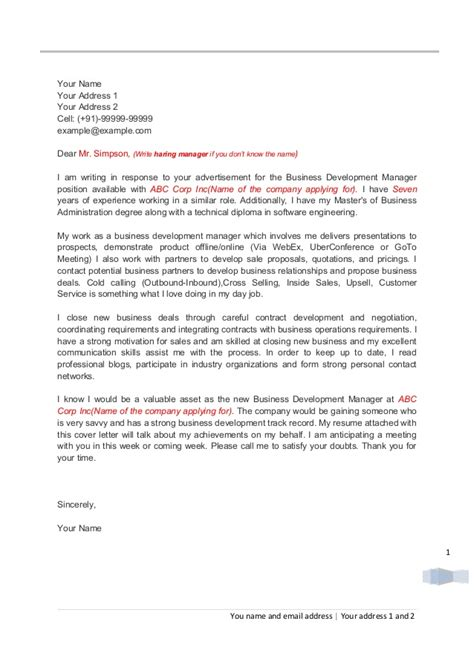 Letter For Business Development Cover Letter For Business Development Professionals