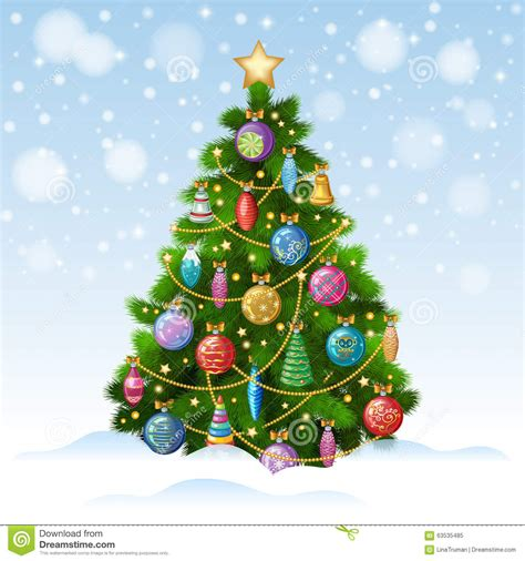 christmas tree with colorful ornaments vector