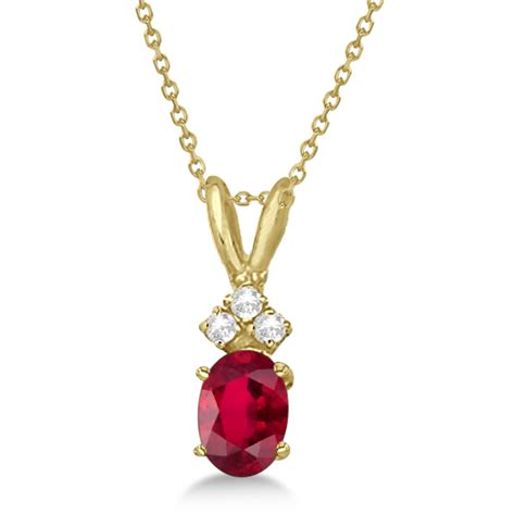 oval ruby pendant with diamonds 14k yellow gold 1 12ctw