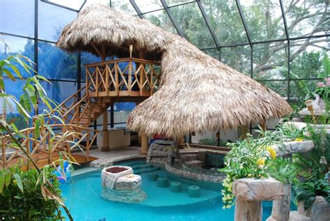 tiki backyard designs tiki hut change your pool into a tropical paradise