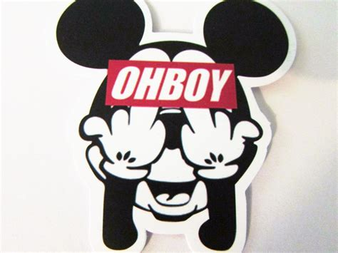 Stiker Label Nama Waterproof Mickey Minnie Mouse Sticker Anti Air free ohboy mickey mouse vinyl sticker helmet car skateboard business crafts other car items