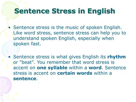 accentual pattern of words and sentences ppt word stress sentence stress powerpoint