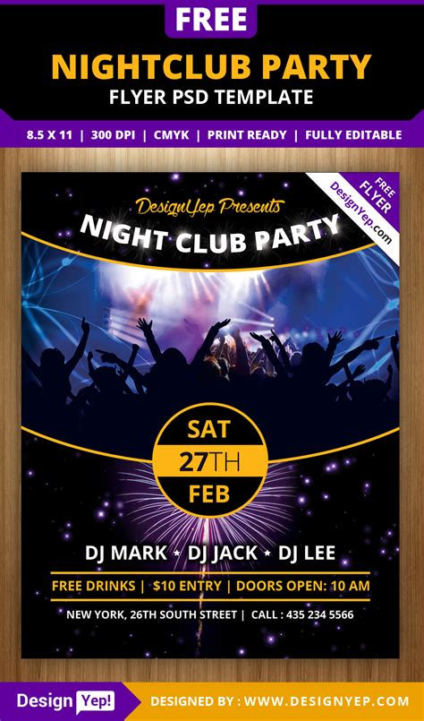 nightclub flyers templates free nightclub flyer psd template designyep