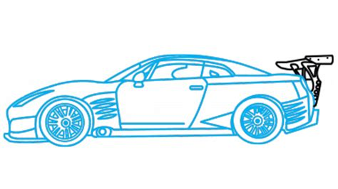 how to draw nissan gtr a car easy step by step drawing