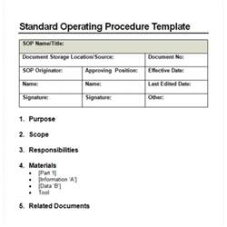 standard operations manual template 9 standard operating procedure sop templates word