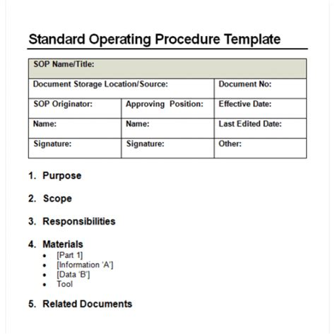 sales sop template 9 standard operating procedure sop templates word