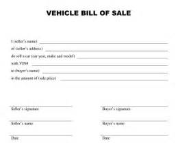 Vehicle Bill Of Sale Free Template by A Free Vehicle Bill Of Sale Template