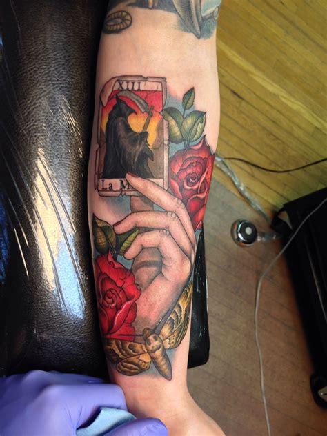 hand holding death tarot card tattoo tattoos