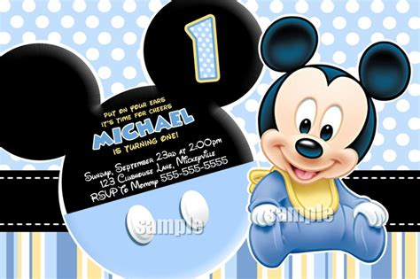 Bando Baby Miki Blue selection baby mickey mouse invitation blue yellow