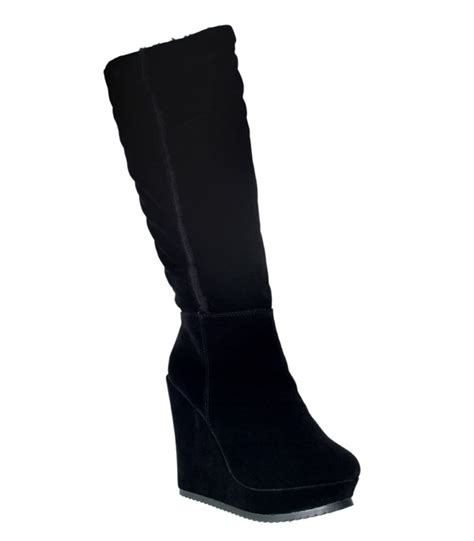 womens new black suede knee high fur lined wedge boots