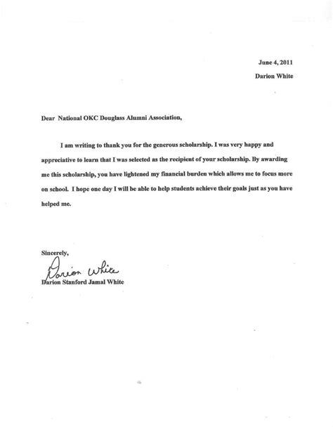 Thank You Letter For Scholarship Donor Sle Blogs National Oklahoma City Douglass High School Alumni Association
