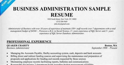 Business Administration Resume by Business Administration Resume Sles Sle Resumes
