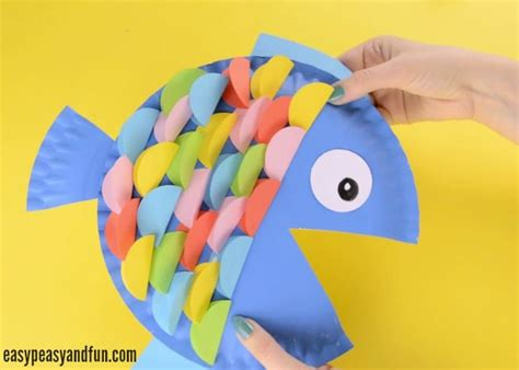 Paper Plate Fish Craft - paper plate fish craft rainbow paper circles easy