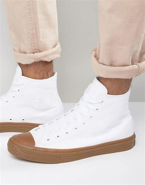 Converse Chuck Hi Top Gume Sole converse converse chuck all ii hi sneakers with gum sole in white 155497c