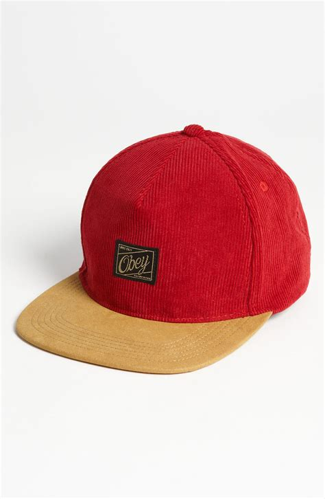 Baseball Cap Maroon obey ralph luxe baseball cap in for maroon lyst