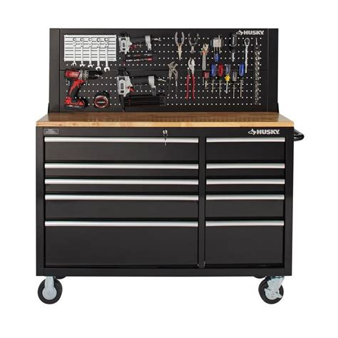 husky tool bench husky 52 in pegboard back wall for tool cabinet black