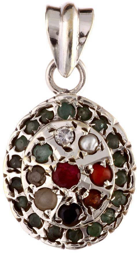 Gms India Bordir navaratna pendant with emerald border