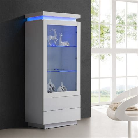 lenovo display cabinet in white gloss with 2 door and led