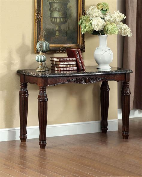 faux marble sofa table brton dark walnut faux marble top sofa table from
