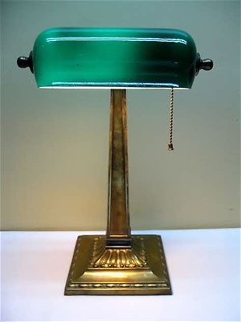 antique early 1900 s brass green cased glass shade banker