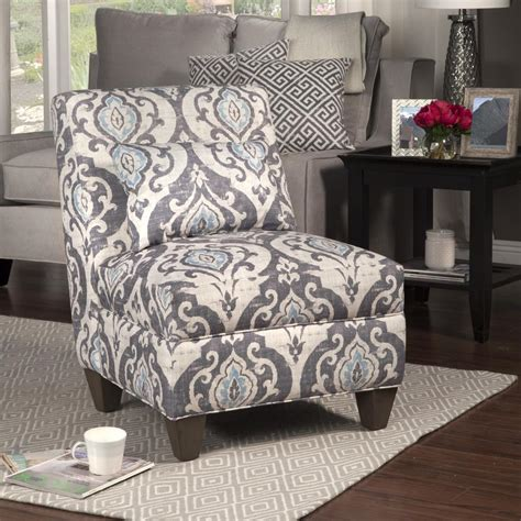 homepop blue  cream slate large accent chair