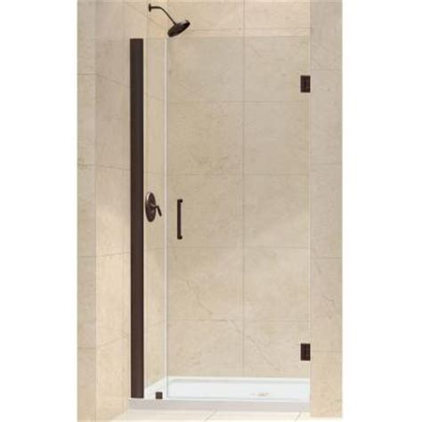 Home Depot Shower Door Installation Dreamline Unidoor 33 To 34 In X 72 In Semi Framed Hinged Shower Door In Rubbed Bronze Shdr