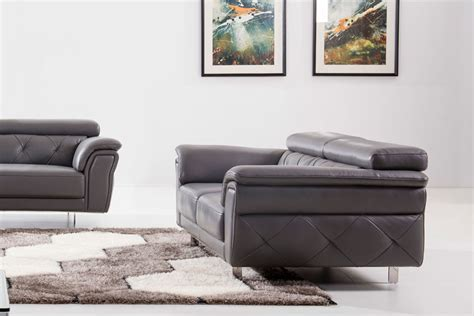 Gray Leather Living Room Sets Modern Light Grey Top Grain Leather Three Living Room Set Carolina Esf Wa S165