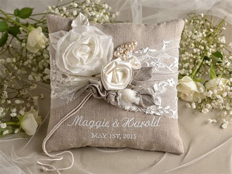 natural linen wedding pillow ring bearer pillow embroidery names shabby chic burlap 2294689