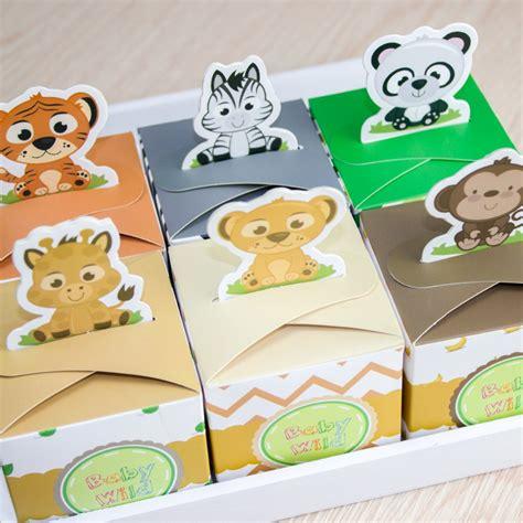 12pcs baby shower favors safari animal favor box